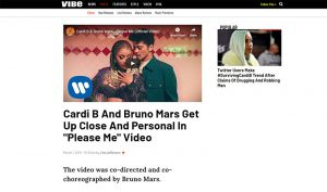 "VIBE Mar 2019 - Cardi B And Bruno Mars Get Up Close And Personal In ""Please Me"" Video"